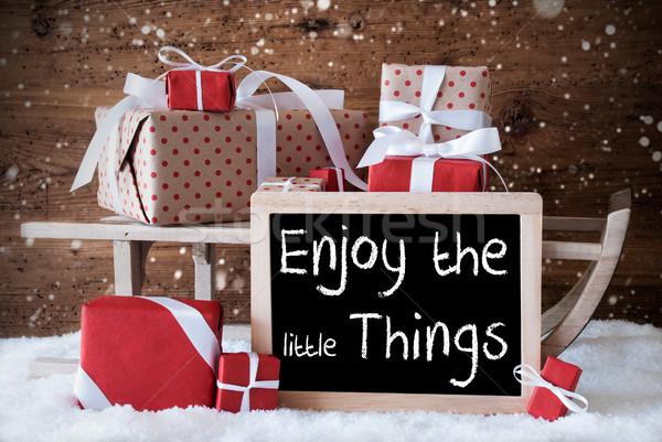 Stockfoto: Slee · geschenken · sneeuw · sneeuwvlokken · citaat · genieten