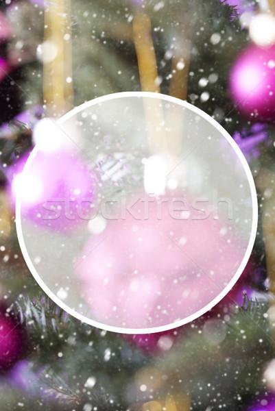 Függőleges rózsa kvarc golyók copy space karácsonyfa Stock fotó © Nelosa