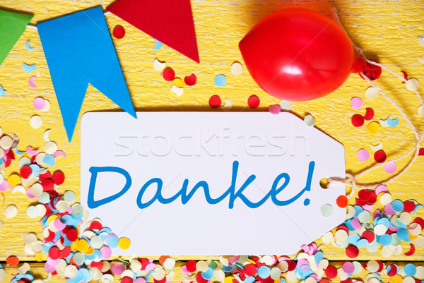 Party Label, Red Balloon, Danke Means Thank You Stock photo © Nelosa