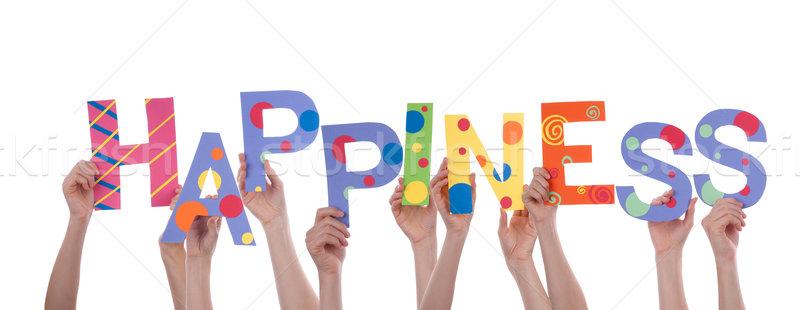 Eller mutluluk çok renkli kelime Stok fotoğraf © Nelosa