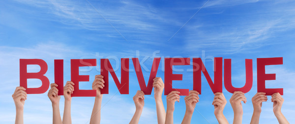 Hands Holding Bienvenue in the Sky Stock photo © Nelosa