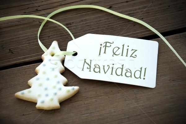 Christmas Label with Feliz Navidad Stock photo © Nelosa