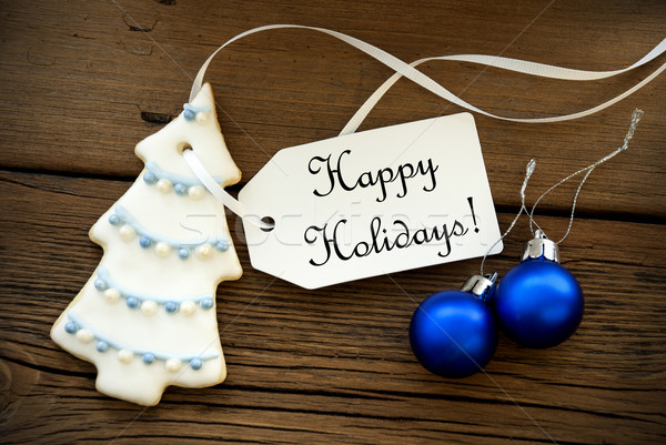 Christmas Decoration with a Label with Happy Holidays Stock photo © Nelosa