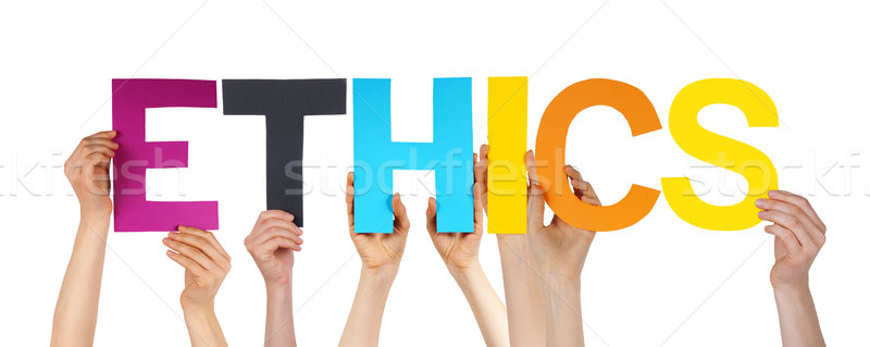 Many People Hands Holding Colorful Straight Word Ethics  Stock photo © Nelosa