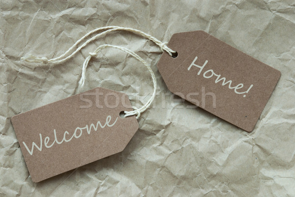 Beige Labels With Welcome Home Paper Background Stock photo © Nelosa
