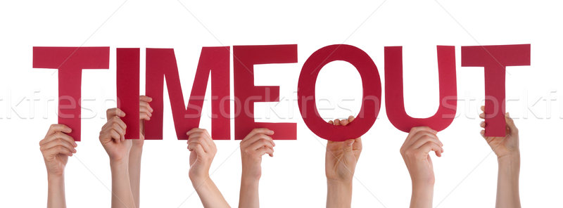 People Hands Holding Red Straight Word Timeout  Stock photo © Nelosa