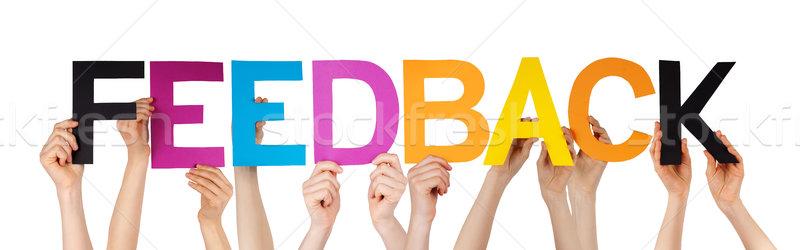 Manos colorido recto palabra feedback Foto stock © Nelosa