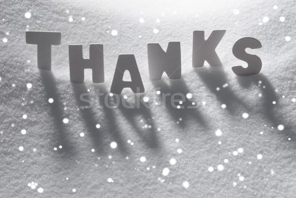 White Word Thanks On Snow, Snowflakes Stock photo © Nelosa
