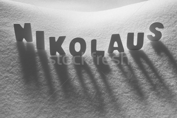 White Word Nikolaus Means St Nicholas On Snow Stock photo © Nelosa