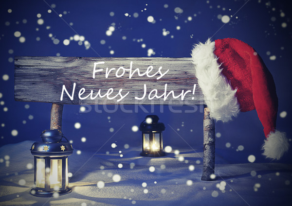 Vintage Christmas Card, Sign, Frohes Neues Jahr Means New Year Stock photo © Nelosa