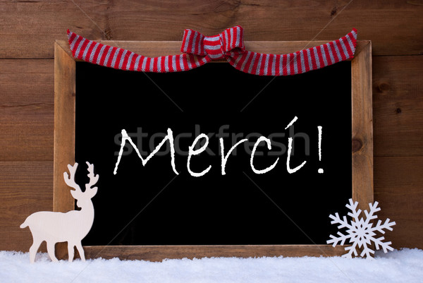 Christmas Card, Snowflake, Loop, Merci Mean Thank You, Snow Stock photo © Nelosa
