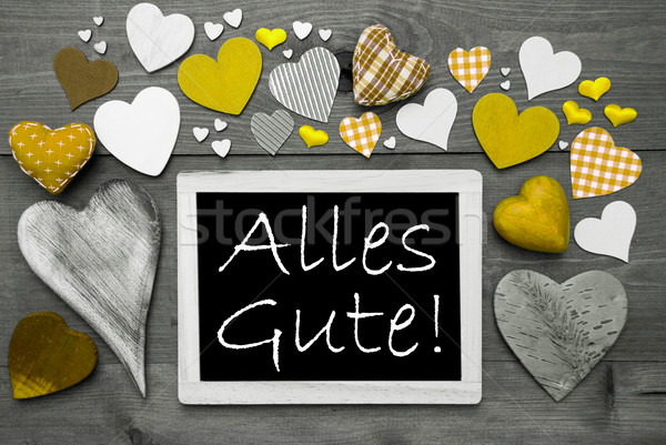 Gray Chalkbord, Yellow Hearts, Alles Gute Means Best Wishes Stock photo © Nelosa