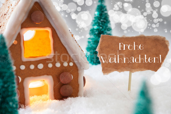 Gingerbread House, Silver Background, Frohe Weihnachten Means Merry Christmas Stock photo © Nelosa