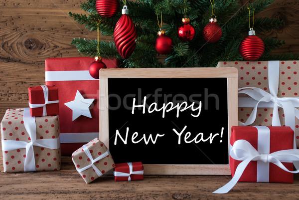 Colorful Christmas Tree, Text Happy New Year Stock photo © Nelosa