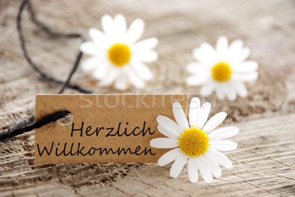 natural looking label with herzlich willkommen Stock photo © Nelosa