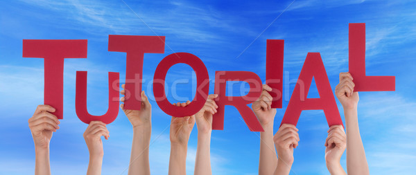Many People Hands Hold Red Word Tutorial Blue Sky Stock photo © Nelosa