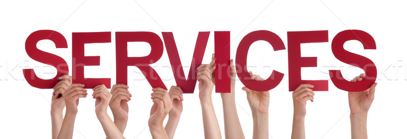 Many People Hands Hold Red Straight Word Services Stock photo © Nelosa