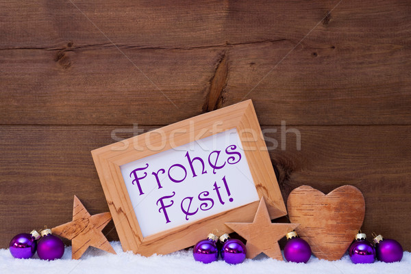 Purple Decoration Text Frohes Fest Mean Merry Christmas Stock photo © Nelosa