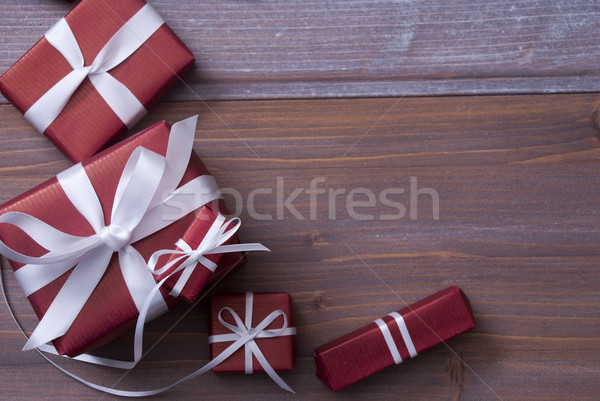 Red Christmas Gifts, Presents, White Ribbon, Copy Space Stock photo © Nelosa