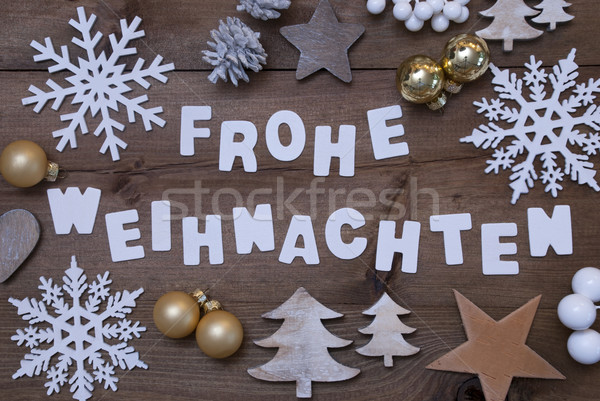 Frohe Weihnachten Means Merry Christmas, Christmassy Decoration Stock photo © Nelosa