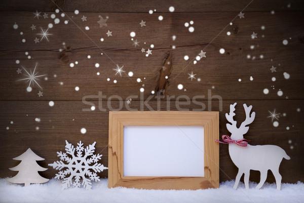 Stok fotoğraf: Beyaz · Noel · dekorasyon · kar · bo