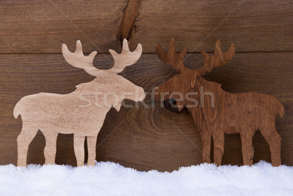 Christmas Decoration, Moose Couple In Love, Snow Stock photo © Nelosa