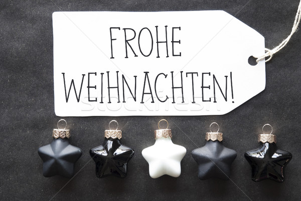 Black Tree Balls, Frohe Weihnachten Means Merry Christmas Stock photo © Nelosa