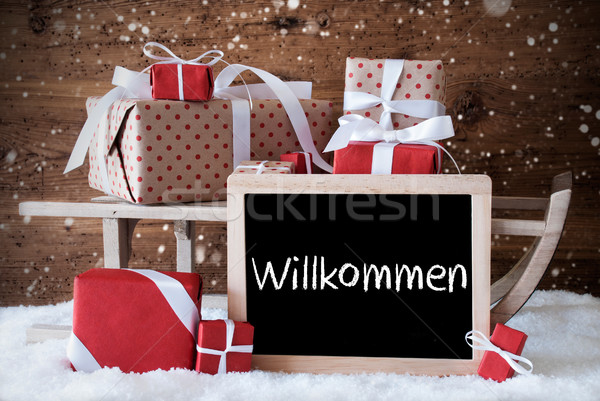 Sleigh With Gifts, Snow, Snowflakes, Willkommen Means Welcome Stock photo © Nelosa