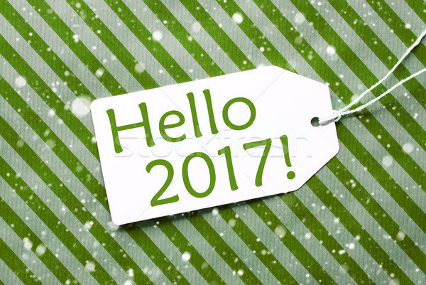 Label On Green Wrapping Paper With Snowflakes, Text Hello 2017 Stock photo © Nelosa