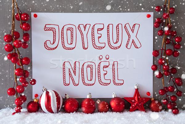 Label, Snowflakes, Balls, Joyeux Noel Means Merry Christmas Stock photo © Nelosa