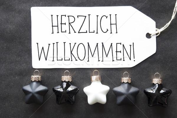 Black Christmas Tree Balls, Herzlich Willkommen Means Welcome Stock photo © Nelosa