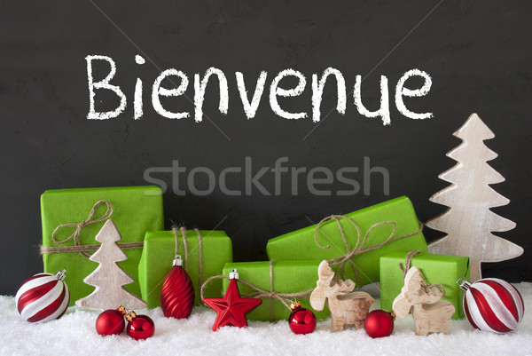 Navidad decoración cemento nieve bienvenida francés Foto stock © Nelosa