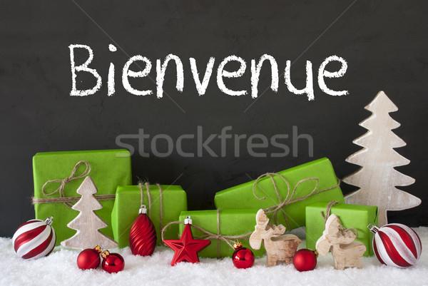 Christmas Decoration, Cement, Snow, Bienvenue Means Welcome Stock photo © Nelosa