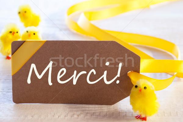 Páscoa etiqueta garotas obrigado francês texto Foto stock © Nelosa