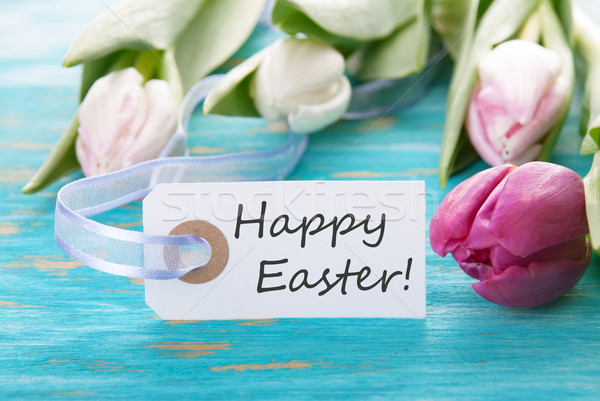 Címke kellemes húsvétot türkiz tulipán virágok fa Stock fotó © Nelosa