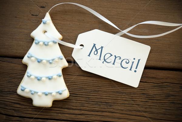 Christmas Tree Cookie with Merci Label Stock photo © Nelosa