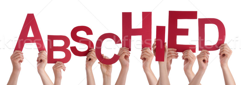 People Holding German Word Abschied Means Goodbye Stock photo © Nelosa