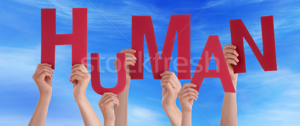 Many People Hands Holding Red Word Human Blue Sky Stock photo © Nelosa