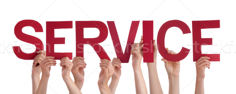 Many People Hands Holding Red Straight Word Service Stock photo © Nelosa