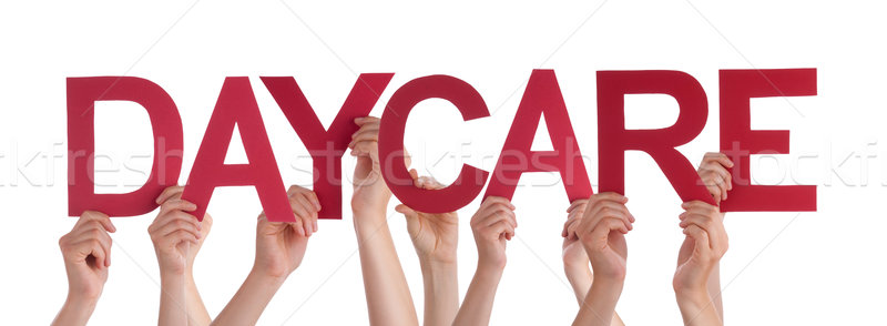 Many People Hands Holding Red Straight Word Daycare Stock photo © Nelosa