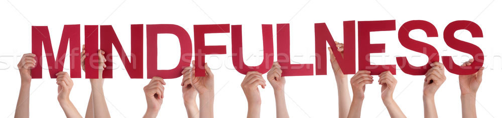 People Hands Holding Red Straight Word Mindfulness Stock photo © Nelosa