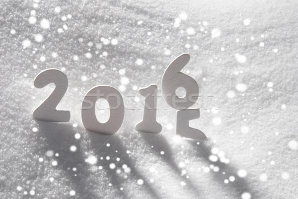 Fehér karácsony szó 2015 2016 hó Stock fotó © Nelosa