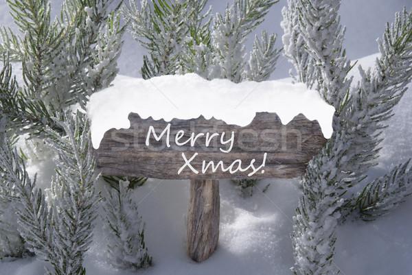 Felirat hó fenyőfa ág szöveg vidám Stock fotó © Nelosa