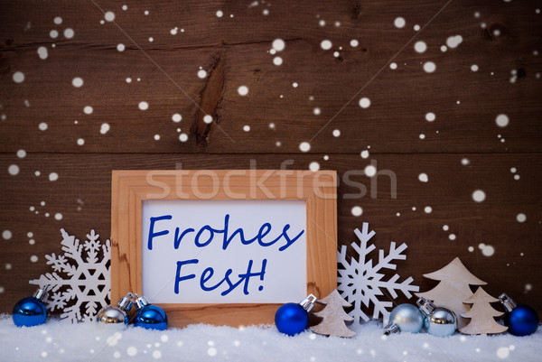 Blue Decoration, Snow, Frohes Fest Mean Christmas, Snowflakes Stock photo © Nelosa
