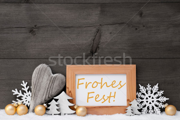 Golden Gray Decoration, Snow, Frohes Fest Mean Merry Christmas Stock photo © Nelosa