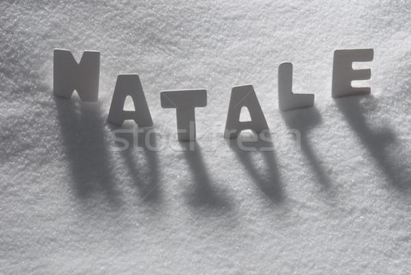 White Word Natale Mean Christmas On Snow Stock photo © Nelosa
