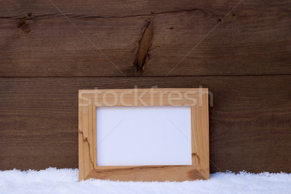 Christmas Card With Picture Frame, Copy Space, Snow Stock photo © Nelosa