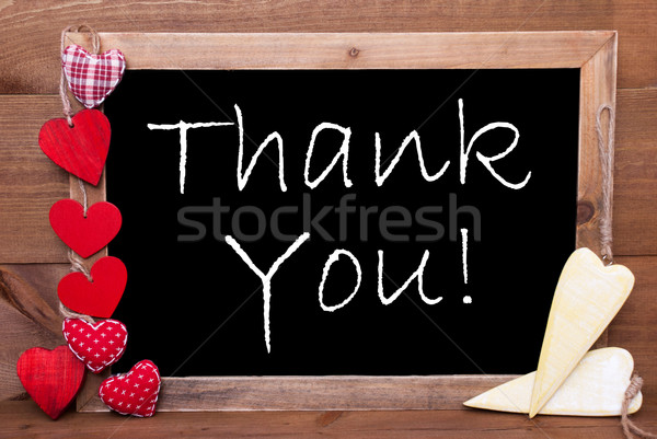 One Chalkbord, Red And Yellow Hearts, Thank You Stock photo © Nelosa