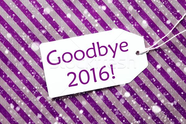 Label Purple оберточной бумаги текста до свидания Сток-фото © Nelosa
