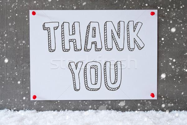 étiquette ciment mur flocons de neige texte merci Photo stock © Nelosa